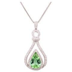 6.31 Carat Mint Green Tourmaline Diamond Pendant