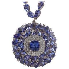 63.10 Carat Tanzanite 18 Karat White Gold Diamond Necklace