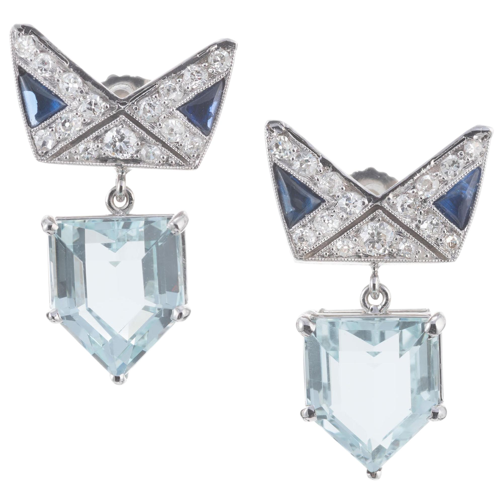 6.32 Carat Aqua Sapphire Diamond Platinum Art Deco Dangle Earrings