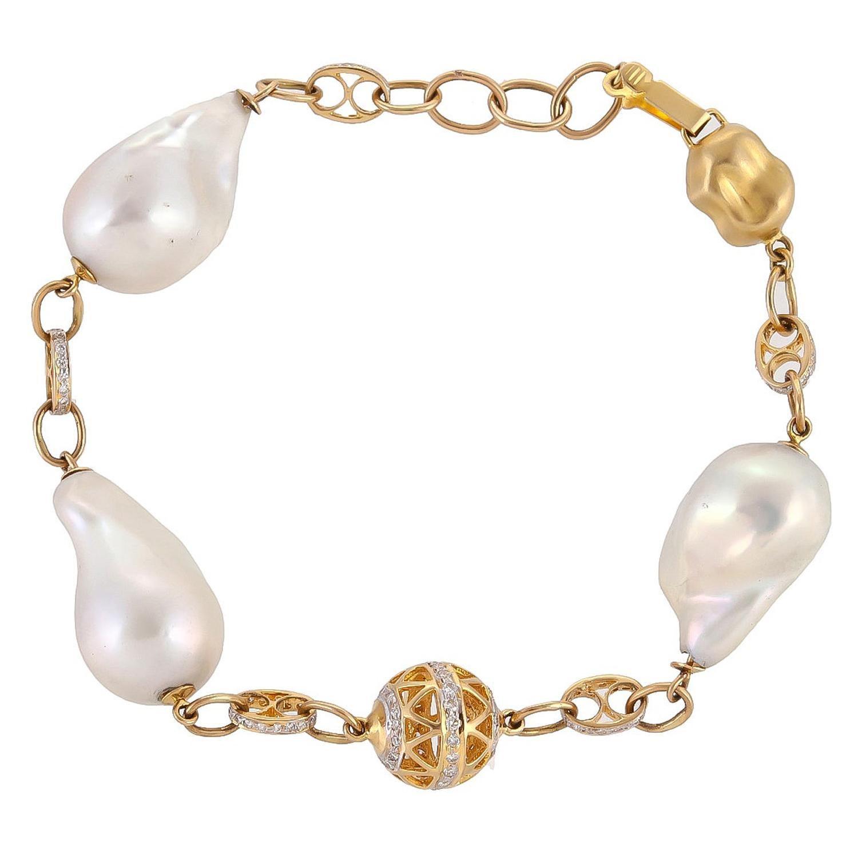 Master Handmade Pearl Diamond Five Leaf Style Bracelet