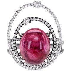 6.33 Carat Brazilian Rubellite and Diamond Solitaire Ring