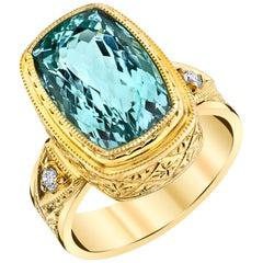 6.33 Carat Cushion Cut Aquamarine, Diamond Handmade Yellow Gold Bezel Band Ring