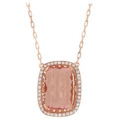 6.33 Carat Pink Morganite and Diamond Pendant