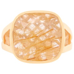 6.33 Carat Rutilated Quartz Ring with 14 Karat Yellow Gold