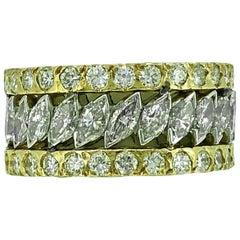 6,33 Karat TW Diamant Nachlass Ehering, Weißgold und Gelbgold