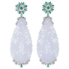 63.35 Carved Jade Emerald 18 Karat Gold Diamond Earrings