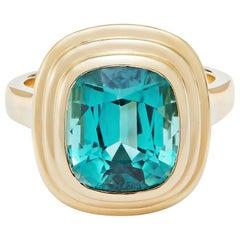 6.34 Carat Cushion Cut Blue Tourmaline 18 Karat Yellow Gold Athena Ring