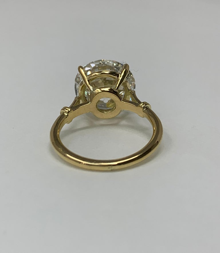 6.34 Carat Old European Cut Diamond Ring in 18 Karat Gold, GIA Certified For Sale 1