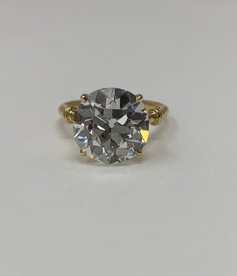 6.34 Carat Old European Cut Diamond Ring in 18 Karat Gold, GIA Certified For Sale 3