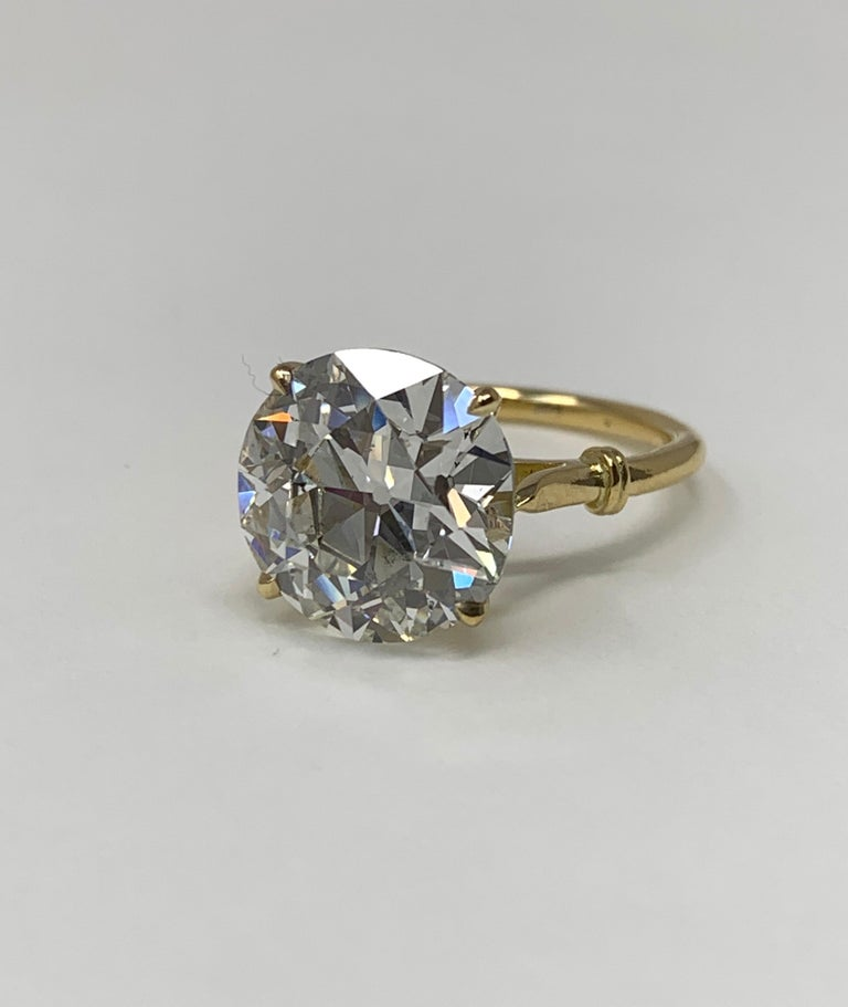 6.34 Carat Old European Cut Diamond Ring in 18 Karat Gold, GIA Certified For Sale 4