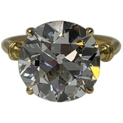 6.34 Carat Old European Cut Diamond Ring in 18 Karat Gold, GIA Certified