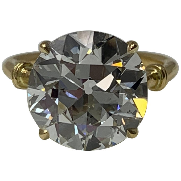 6.34 Carat Old European Cut Diamond Ring in 18 Karat Gold, GIA Certified For Sale