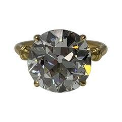 6.34 Carat Old European Cut Diamond Ring in 18 Karat Gold, GIA Certified