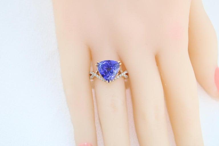 6.34 Carat Trillion Cut Tanzanite Diamond Rose Gold Ring For Sale 7