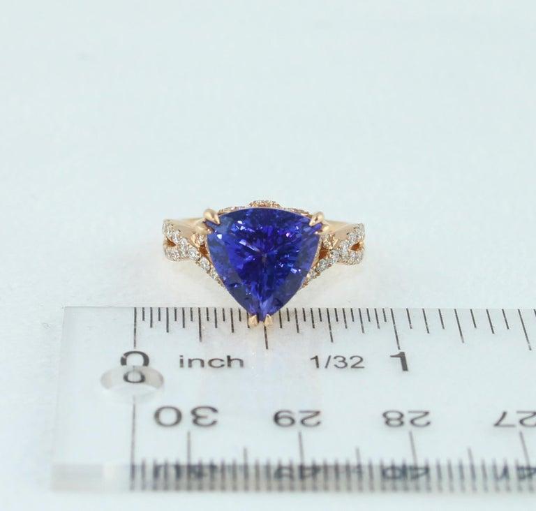 6.34 Carat Trillion Cut Tanzanite Diamond Rose Gold Ring For Sale 8
