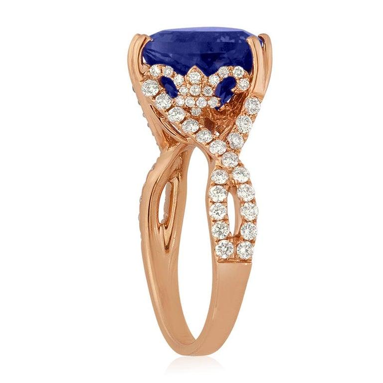 Contemporary 6.34 Carat Trillion Cut Tanzanite Diamond Rose Gold Ring For Sale