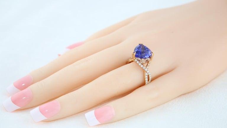 6.34 Carat Trillion Cut Tanzanite Diamond Rose Gold Ring For Sale 2