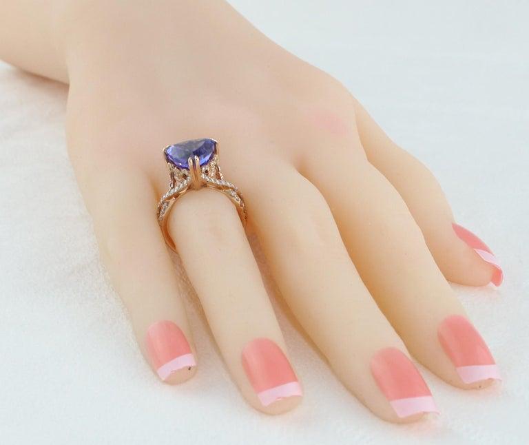6.34 Carat Trillion Cut Tanzanite Diamond Rose Gold Ring For Sale 4