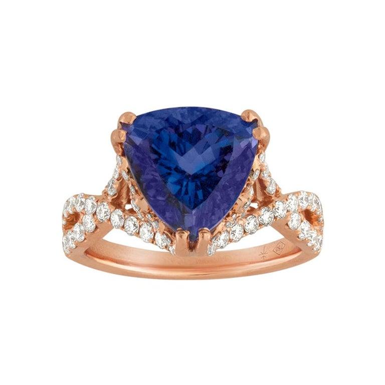 6.34 Carat Trillion Cut Tanzanite Diamond Rose Gold Ring For Sale