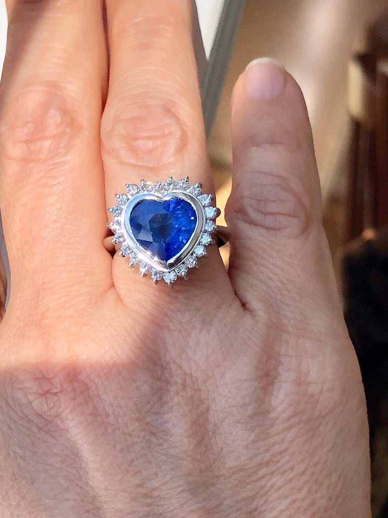 Women's 6.35 Carat Burma Blue Sapphire and Diamond Engagement Ring 18K Gold /Certified For Sale