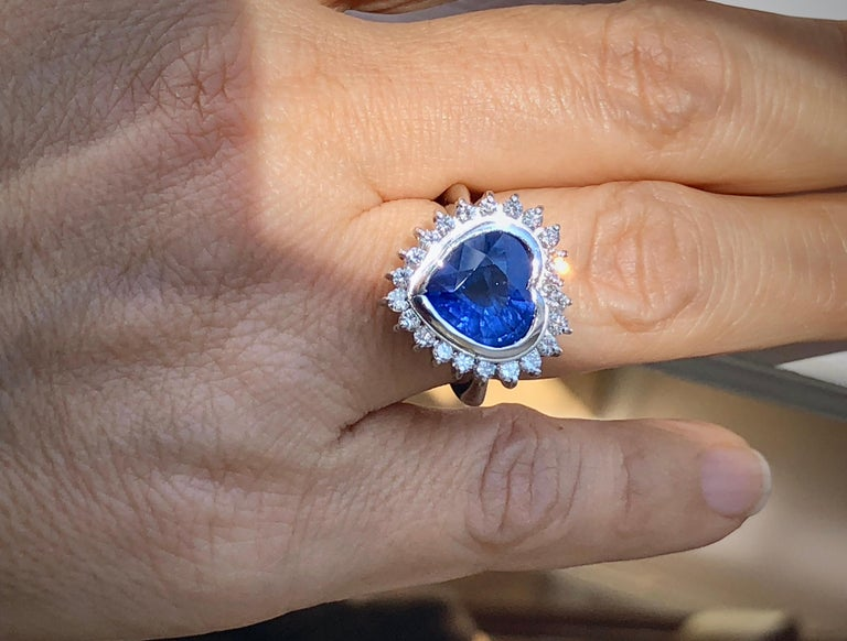 Art Deco 6.35 Carat Burma Blue Sapphire and Diamond Engagement Ring 18K Gold /Certified For Sale