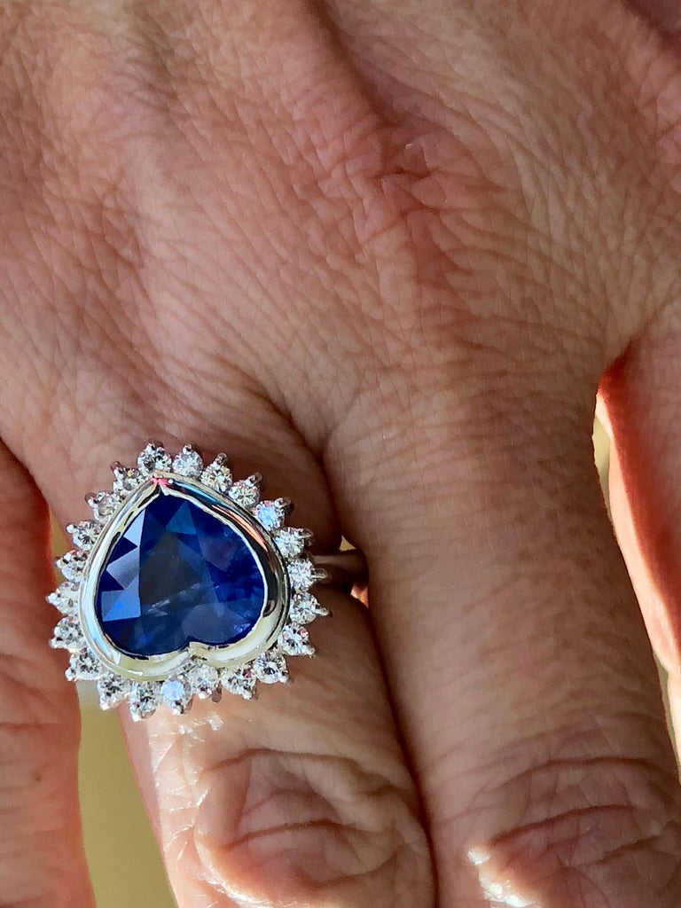 6.35 Carat Burma Blue Sapphire and Diamond Engagement Ring 18K Gold /Certified For Sale 2