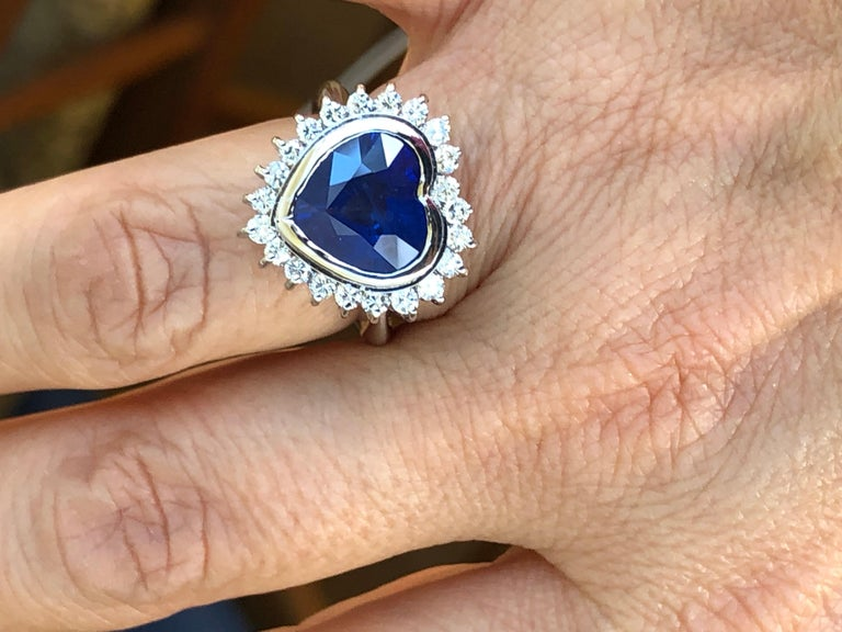 6.35 Carat Burma Blue Sapphire and Diamond Engagement Ring 18K Gold /Certified For Sale 3