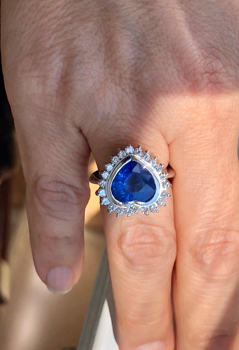6.35 Carat Burma Blue Sapphire and Diamond Engagement Ring 18K Gold /Certified For Sale 4