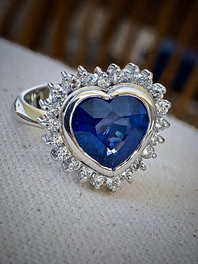 Heart Cut 6.35 Carat Burma Blue Sapphire and Diamond Engagement Ring 18K Gold /Certified For Sale