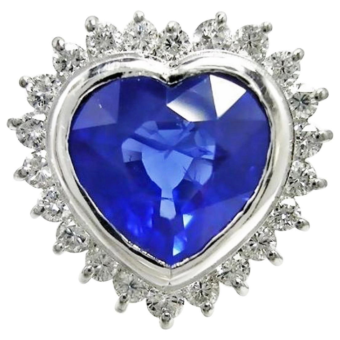 6.35 Carat Burma Heart Sapphire Diamond Engagement Ring 18K Gold /Certified