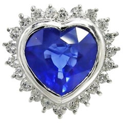 6.35 Carat Burma Heart Sapphire Diamond Engagement Ring 18K Gold /Certified