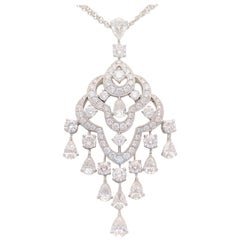 6.35 Carat Double Strand 18 Karat White Gold Diamond Chandelier Necklace