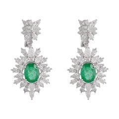 6.35 Carat Emerald Diamond 18 Karat White Gold Earrings