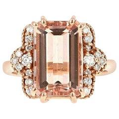 6.35 Carat Exquisite Natural Morganite and Diamond 14 Karat Solid Rose Gold Ring