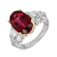 6.35 Carat Oval Rubelite Tourmaline Diamond Gold Cocktail Engagement Ring