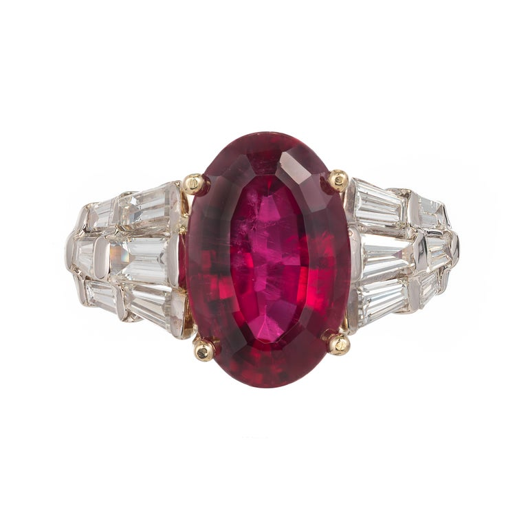 Baguette Cut 6.35 Carat Oval Red Rubelite Tourmaline Diamond Gold Cocktail Engagement Ring