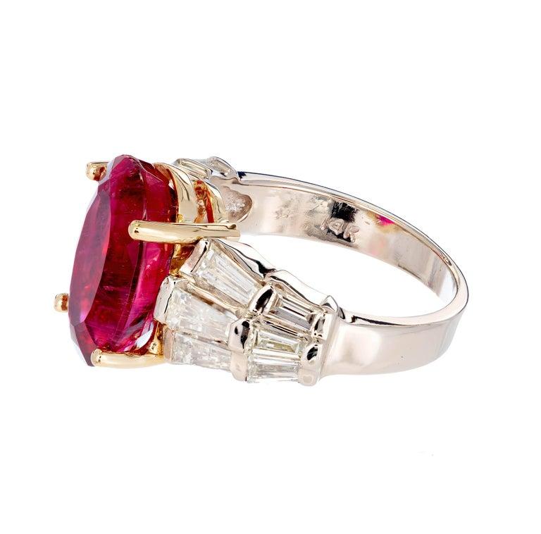 Women's 6.35 Carat Oval Red Rubelite Tourmaline Diamond Gold Cocktail Engagement Ring