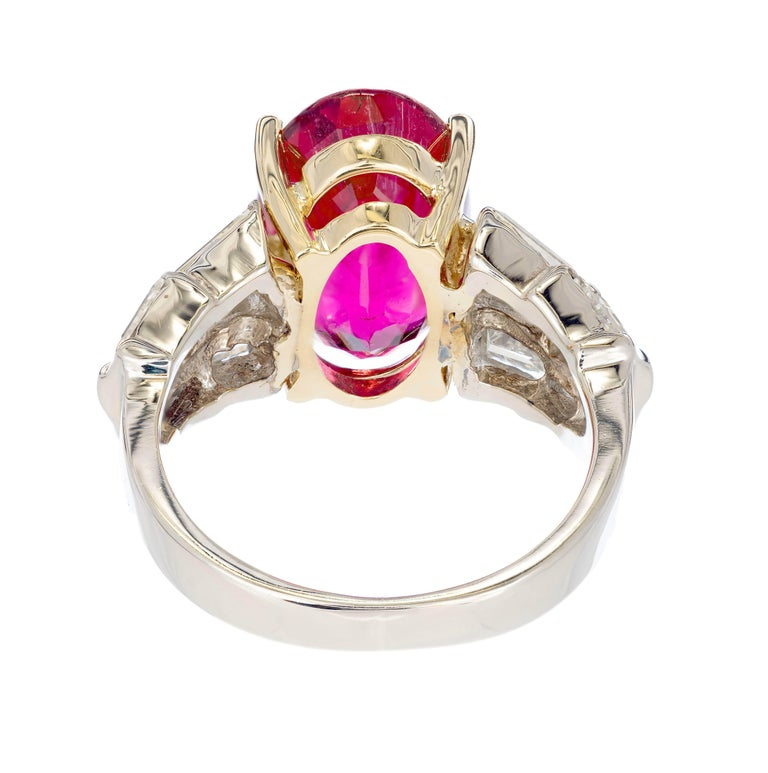 6.35 Carat Oval Red Rubelite Tourmaline Diamond Gold Cocktail Engagement Ring 1