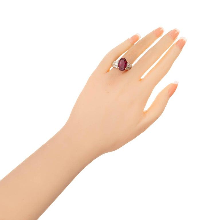 6.35 Carat Oval Red Rubelite Tourmaline Diamond Gold Cocktail Engagement Ring 2