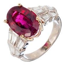 6.35 Carat Oval Red Rubelite Tourmaline Diamond Gold Cocktail Engagement Ring