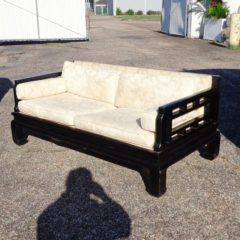 Ebonized Michael Taylor Far East Collection Settee for Baker For Sale