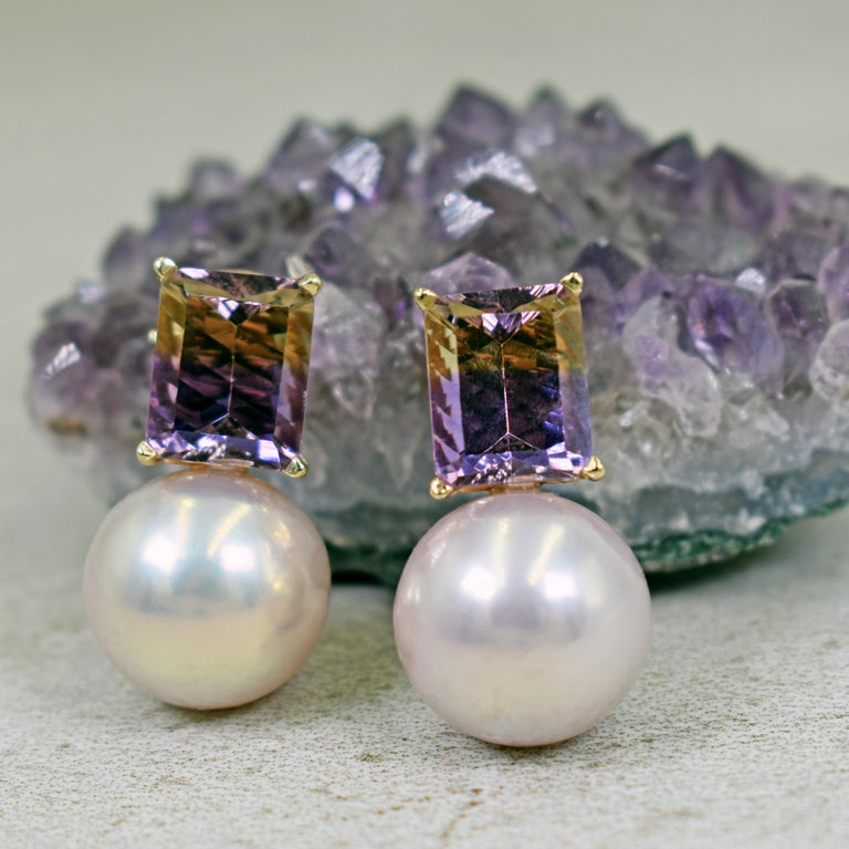 Contemporary 6.36 Carat Fantasy Cut Ametrine Pink Freshwater Pearl 14k Gold Stud Earrings For Sale
