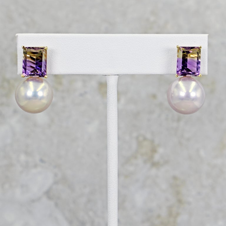 6.36 Carat Fantasy Cut Ametrine Pink Freshwater Pearl 14k Gold Stud Earrings In New Condition For Sale In Naples, FL