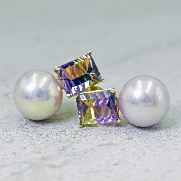 6.36 Carat Fantasy Cut Ametrine Pink Freshwater Pearl 14k Gold Stud Earrings For Sale 2