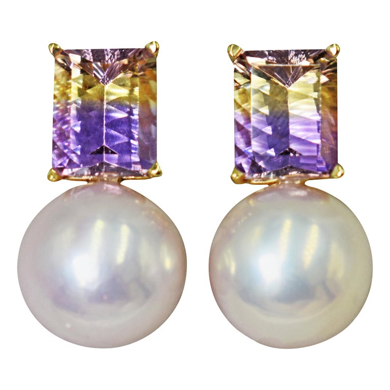 6.36 Carat Fantasy Cut Ametrine Pink Freshwater Pearl 14k Gold Stud Earrings For Sale
