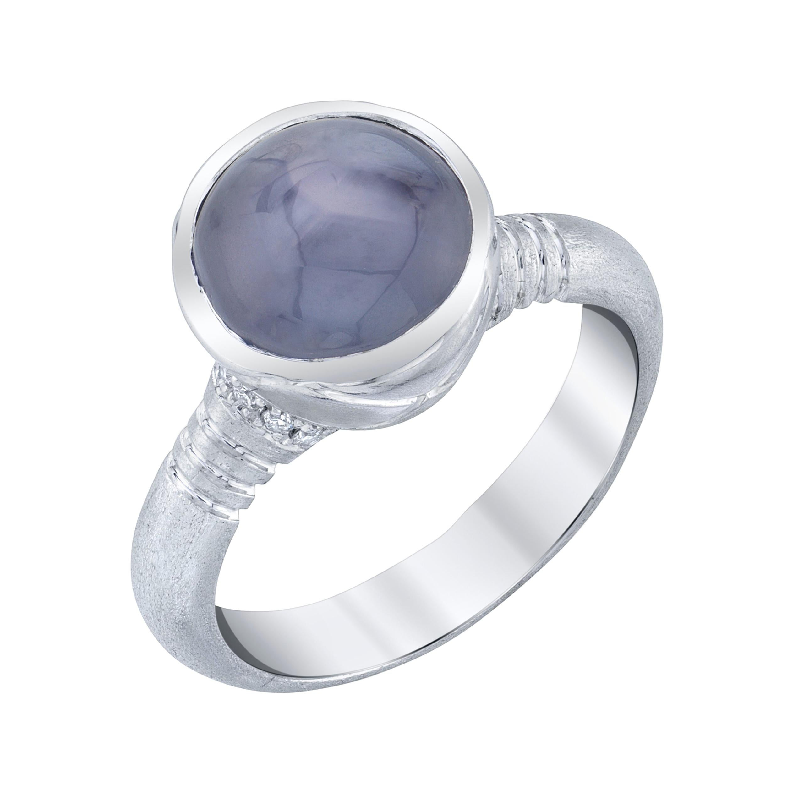6.36 Carat Oval Silver Blue Star Sapphire Cabochon, Diamond, White Gold Ring
