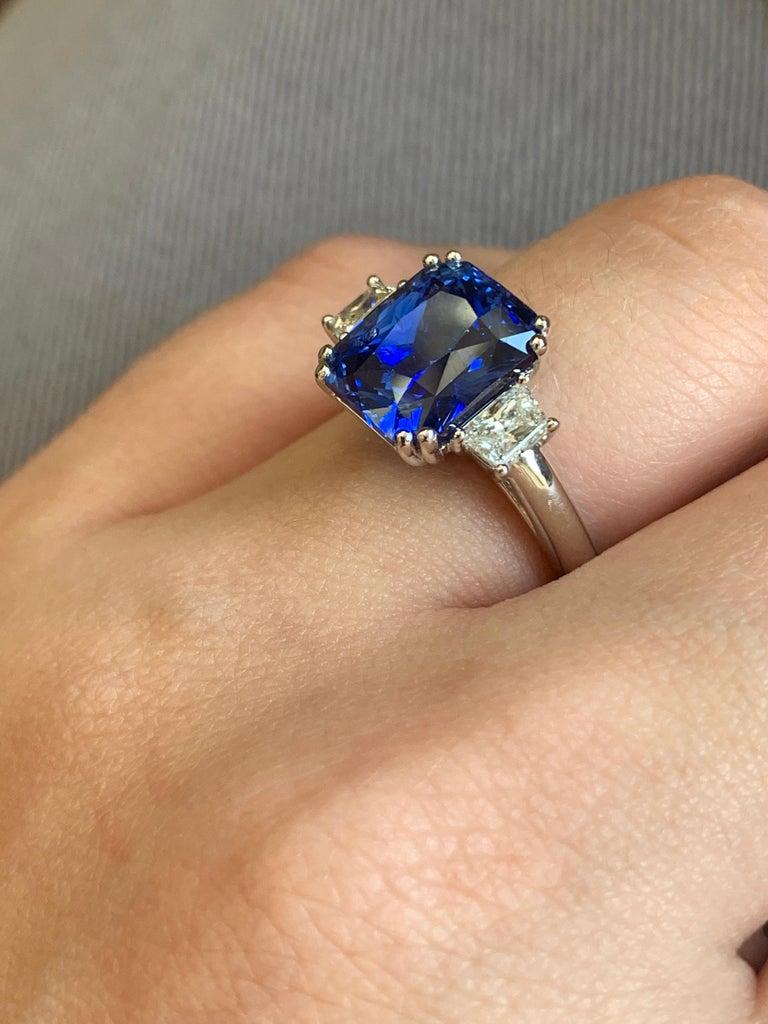 Radiant Cut 6.36 Carat Royal Blue Sapphire For Sale