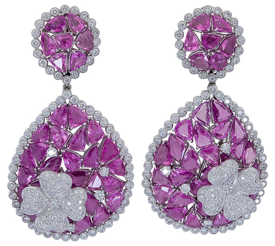 63.60 Carat Mixed Cut Pink Sapphire and Diamond Clip-On Dangle Earrings