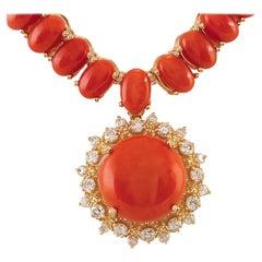 63.65 Carat Coral 18 Karat Yellow Gold Diamond Necklace