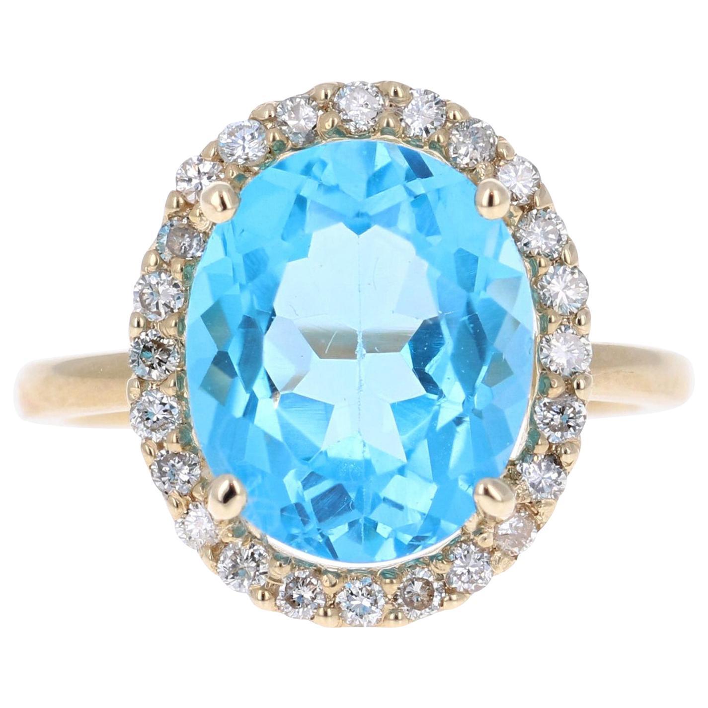 6.37 Carat Blue Topaz Diamond Yellow Gold Cocktail Ring